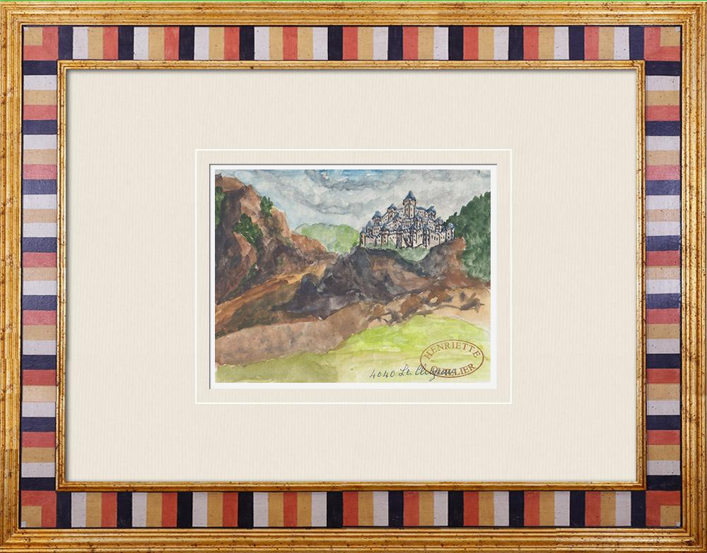 Gravures Anciennes & Dessins   Château imaginaire - Château de Cluzeau - Vienne - France (Henriette Quillier)   Aquarelle   1960