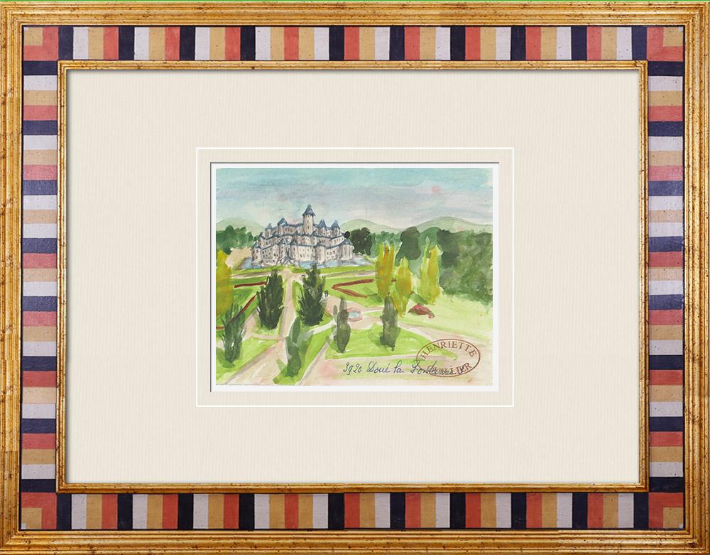 Gravures Anciennes & Dessins | Château imaginaire - Château de Doué-la-Fontaine - Maine-et-Loire - France (Henriette Quillier) | Aquarelle | 1960