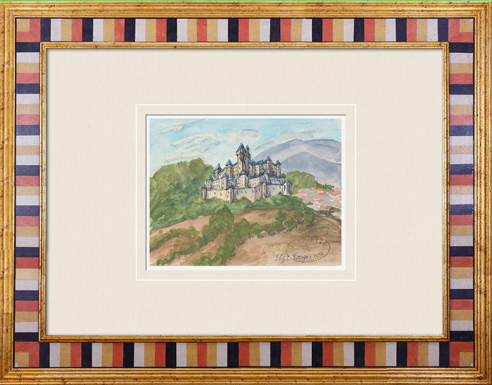 Antique Prints & Drawings | Imaginary Castle - Targé - Vienne - France (Henriette Quillier) | Watercolor painting | 1960