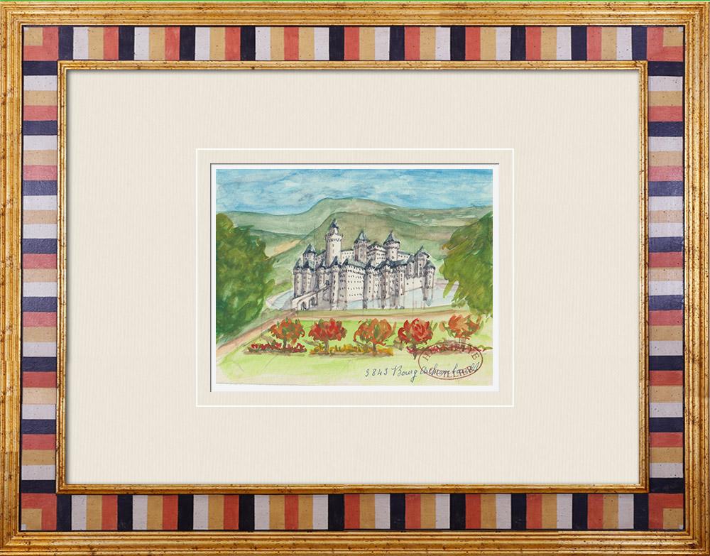 Gravures Anciennes & Dessins | Château imaginaire - Château de Bourg-Archambault - Vienne - France (Henriette Quillier) | Aquarelle | 1960