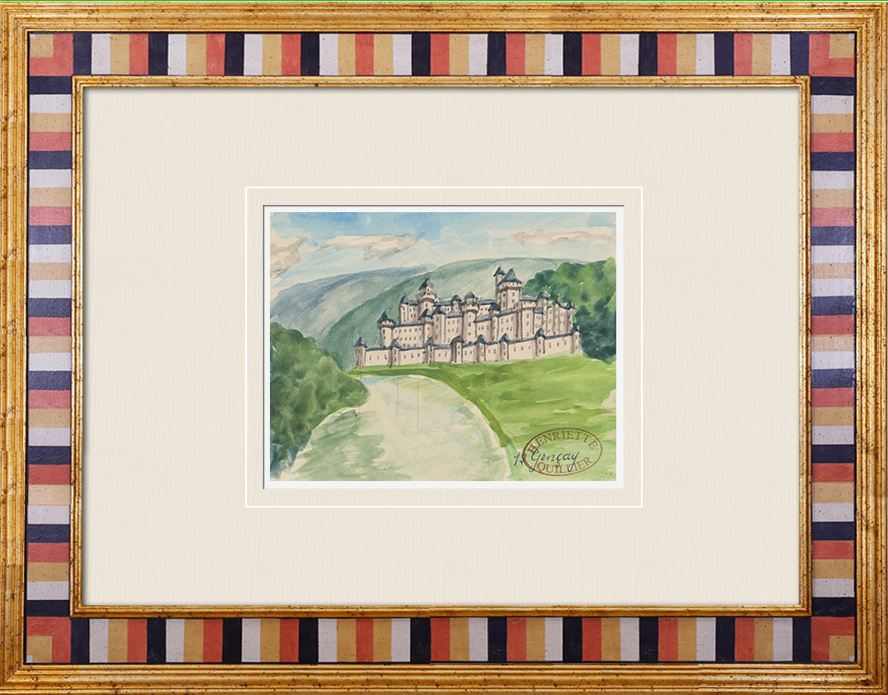 Gravures Anciennes & Dessins | Château imaginaire - Château-fort de Gençay - Vienne - France (Henriette Quillier) | Aquarelle | 1960