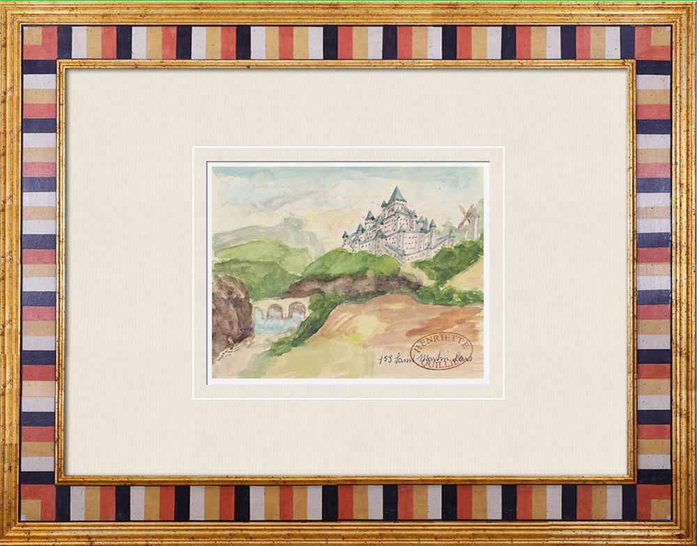 Gravures Anciennes & Dessins   Château imaginaire - Saint-Martin-l'Ars - Vienne - France (Henriette Quillier)   Aquarelle   1960