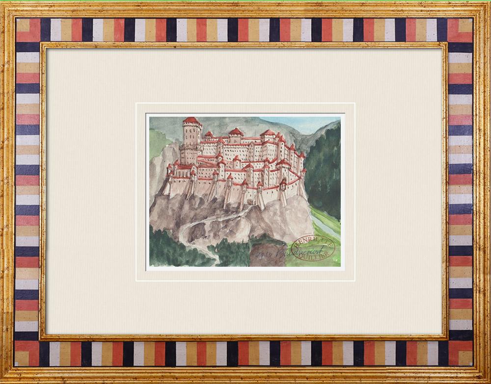 Gravures Anciennes & Dessins   Château imaginaire - Baudricourt - Vosges - France (Henriette Quillier)   Aquarelle   1960