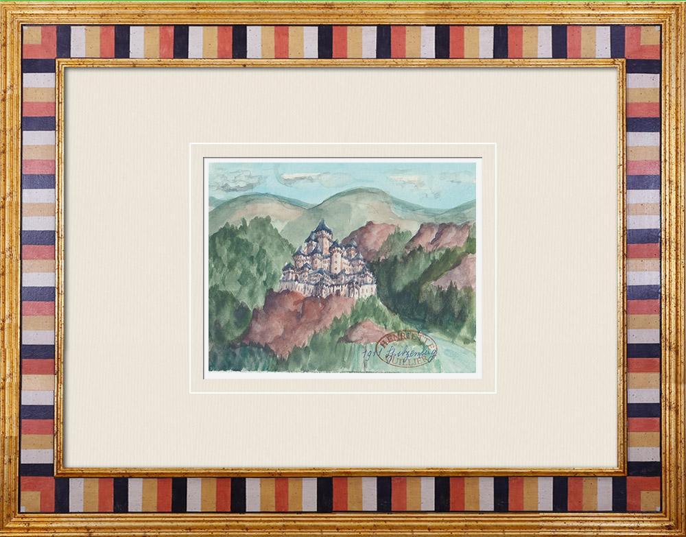 Antique Prints & Drawings | Imaginary Castle - Spitzemberg - Vosges - France (Henriette Quillier) | Watercolor painting | 1960