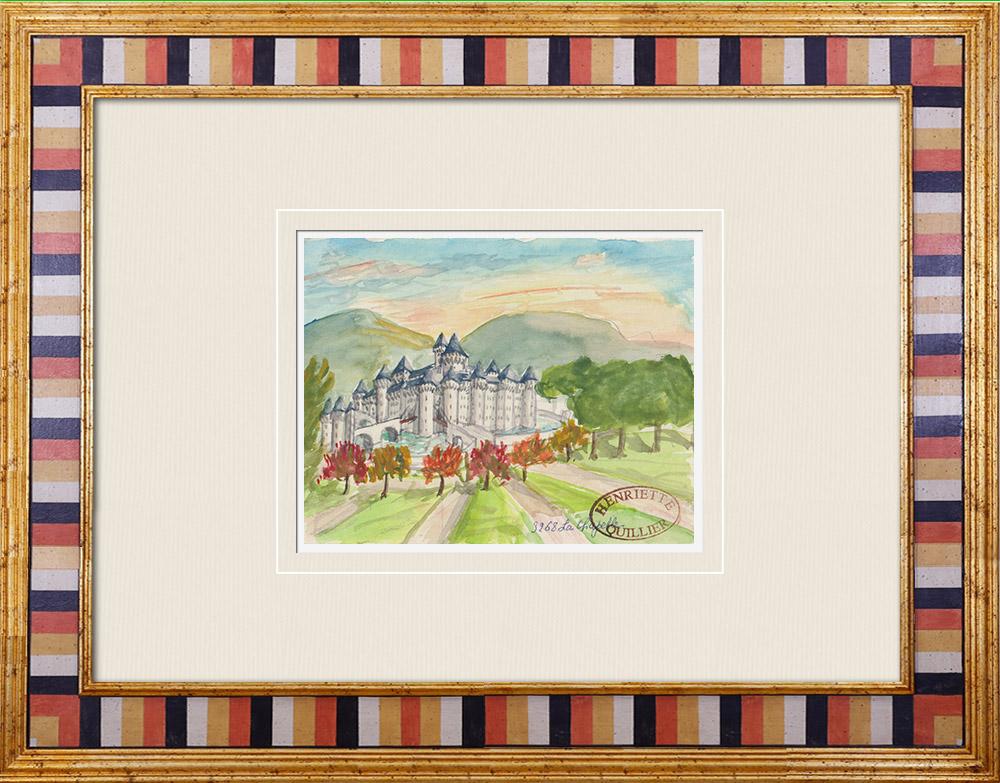 Gravures Anciennes & Dessins | Château imaginaire - La Chapelle-sur-Oreuse - Yonne - France (Henriette Quillier) | Aquarelle | 1960