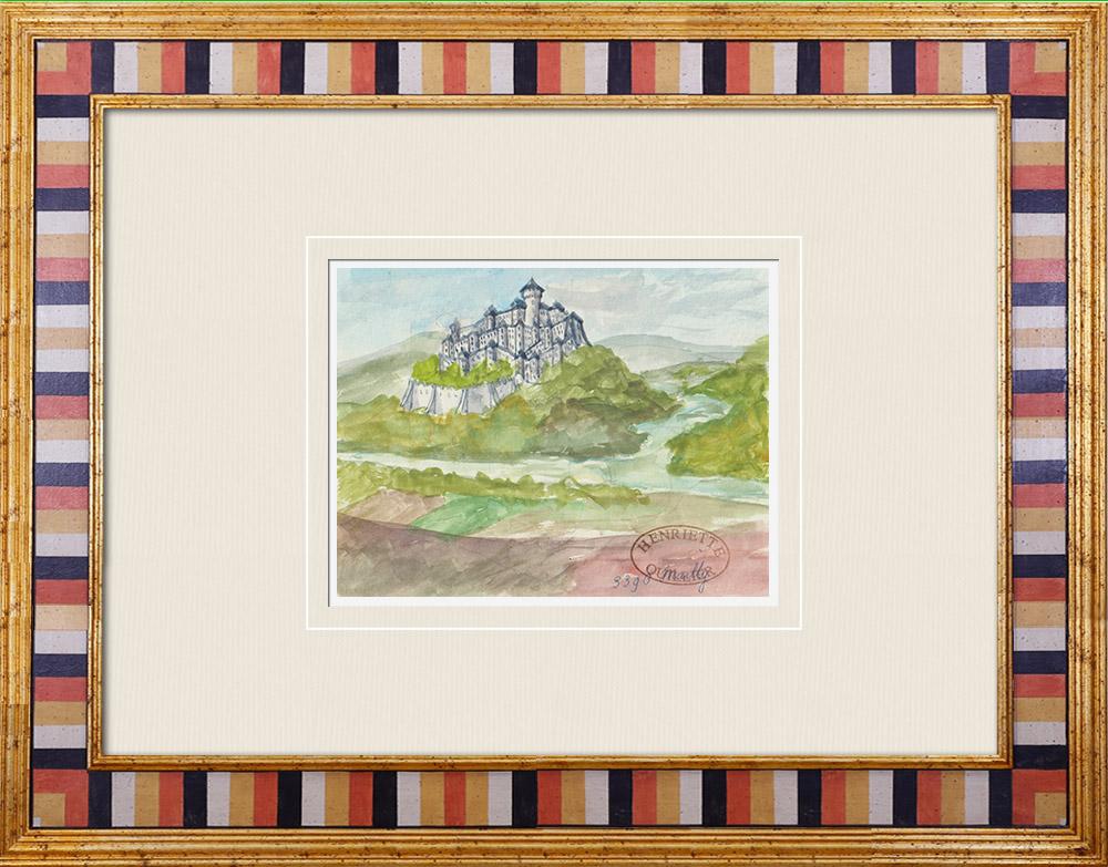 Antique Prints & Drawings | Imaginary Castle - Mailly-le-Château - Yonne - France (Henriette Quillier) | Watercolor painting | 1960