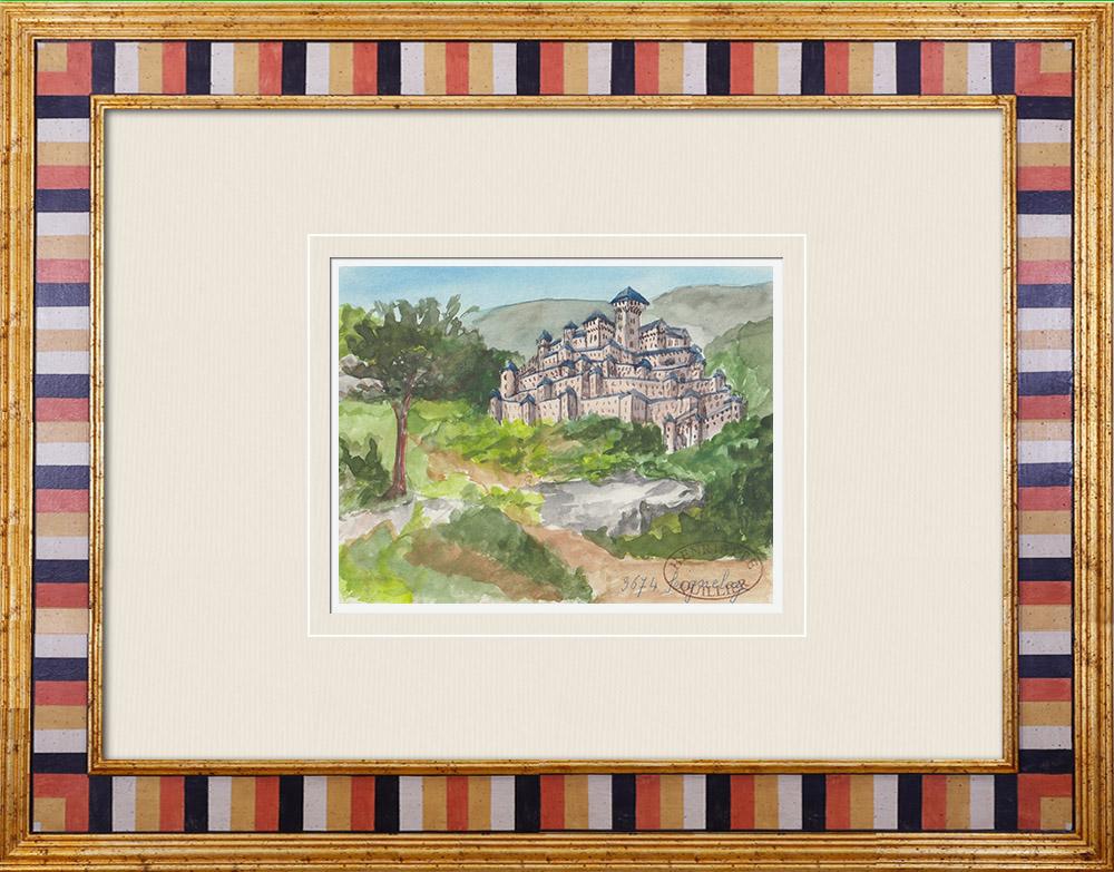 Gravures Anciennes & Dessins   Château imaginaire - Seignelay - Yonne - France (Henriette Quillier)   Aquarelle   1960