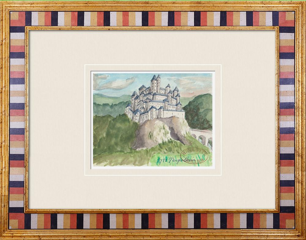 Antique Prints & Drawings | Imaginary Castle - Vauguillain - Yonne - France (Henriette Quillier) | Watercolor painting | 1960