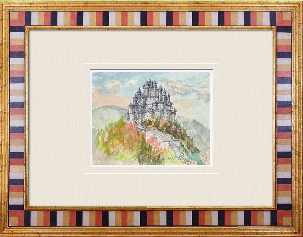 Gravures Anciennes & Dessins | Château imaginaire - Chiny - Wallonie - Belgique (Henriette Quillier) | Aquarelle | 1960