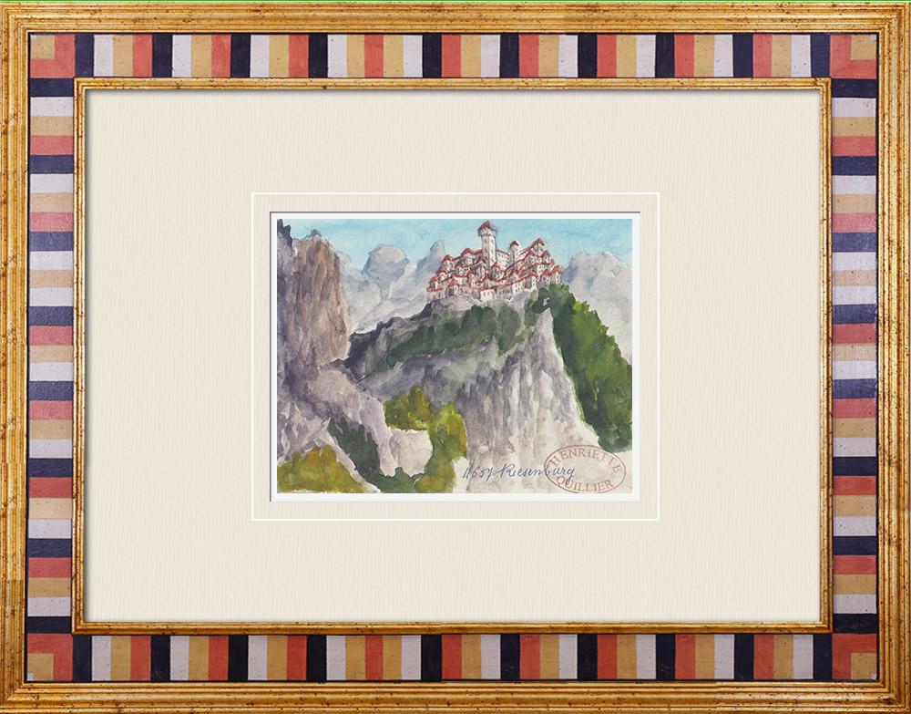 Gravures Anciennes & Dessins | Château imaginaire - Château de Riesenburg - Bohême - Tchéquie (Henriette Quillier) | Aquarelle | 1960