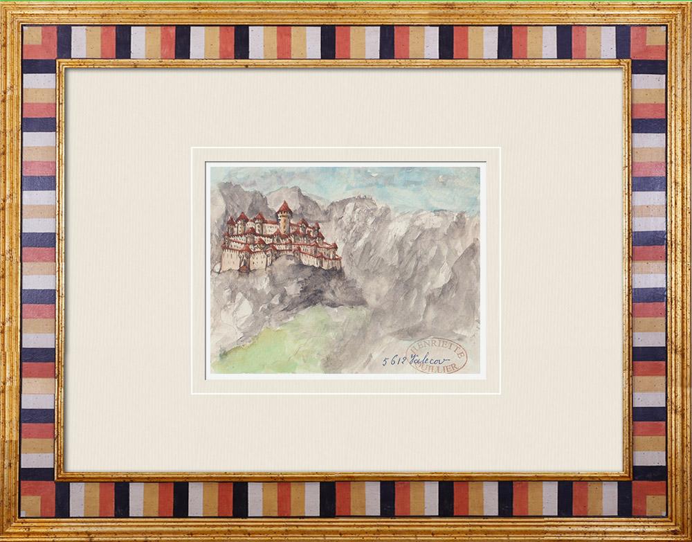 Gravures Anciennes & Dessins | Château imaginaire - Château de Valecov - Bohême - République tchèque (Henriette Quillier) | Aquarelle | 1960