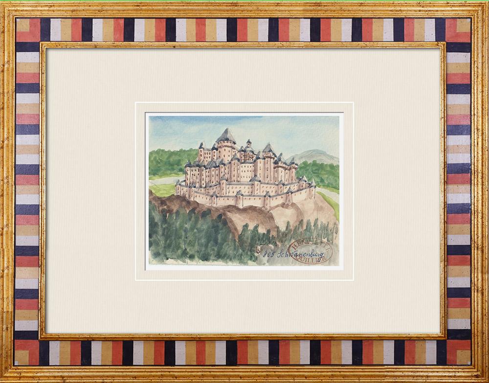 Antique Prints & Drawings   Imaginary Castle - Schwanenburg - North Rhine-Westphalia - Germany (Henriette Quillier)   Watercolor painting   1960