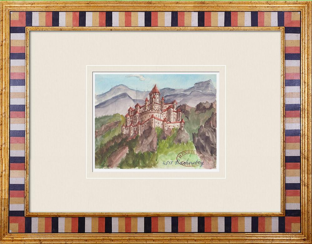 Antique Prints & Drawings   Imaginary Castle - Reichersberg - Upper Austria (Henriette Quillier)   Watercolor painting   1960