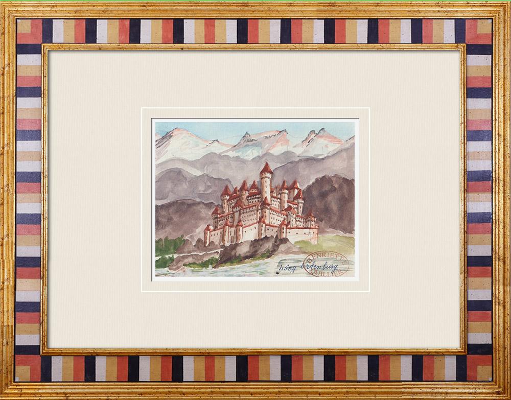 Gravures Anciennes & Dessins | Château imaginaire - Château d'Ortenburg - Carinthie - Autriche (Henriette Quillier) | Aquarelle | 1960