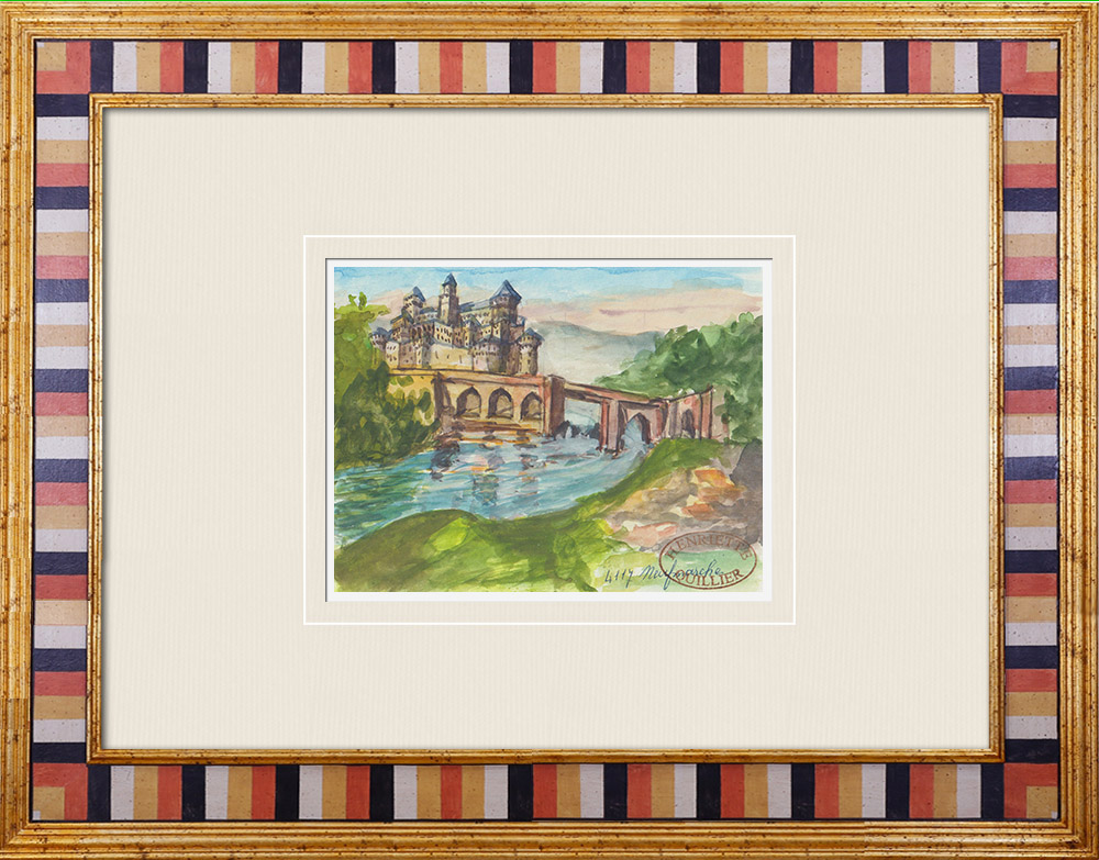 Antique Prints & Drawings | Imaginary Castle - Neuf-Marché - Seine-Maritime - France (Henriette Quillier) | Watercolor painting | 1960