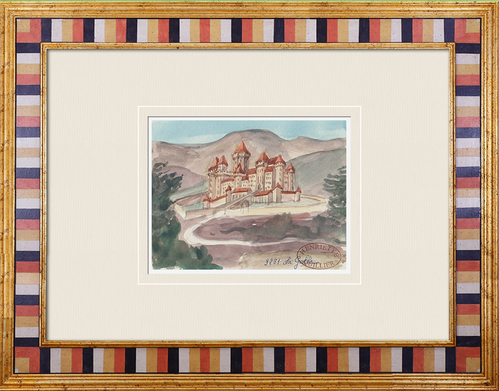 Antique Prints & Drawings | Imaginary Castle - La Galle - Uchaux - Vaucluse - France (Henriette Quillier) | Watercolor painting | 1960