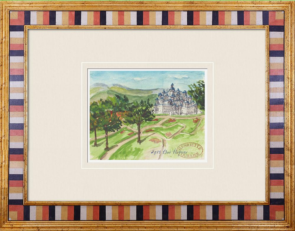 Antique Prints & Drawings   Imaginary Castle - Bois-Rogue - Vienne - France (Henriette Quillier)   Watercolor painting   1960