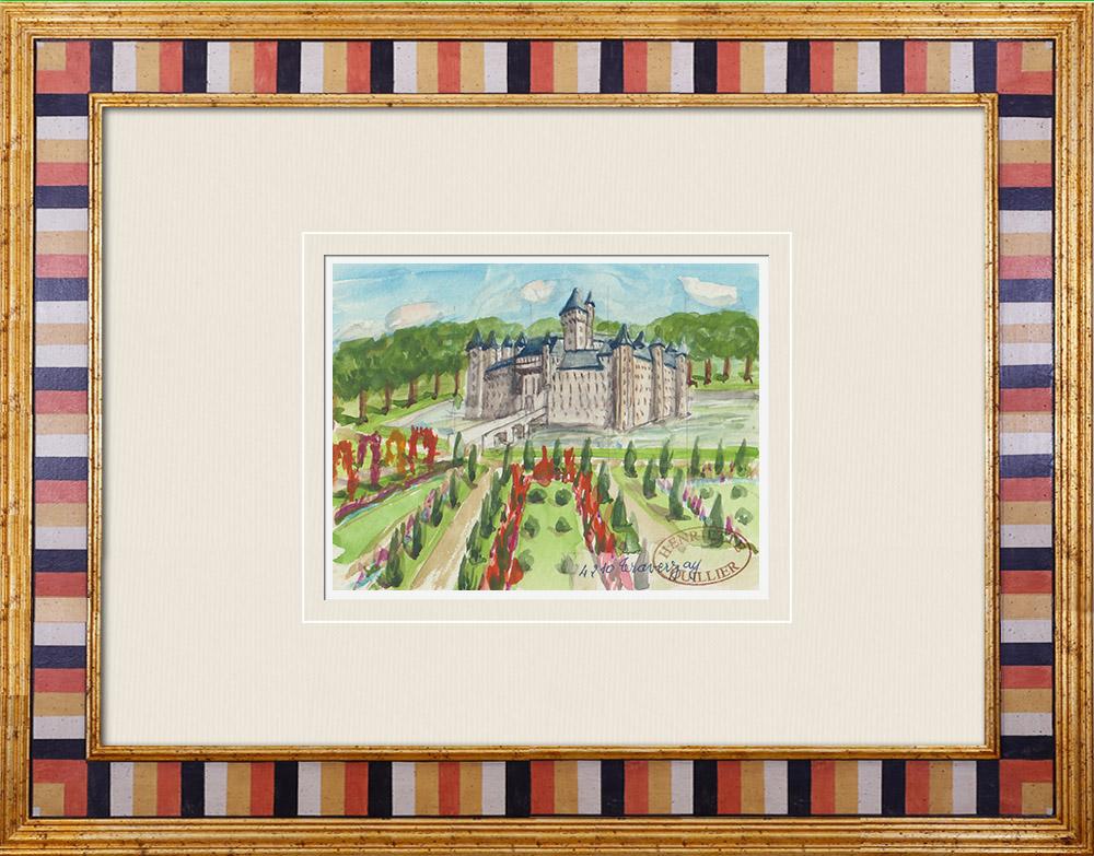 Antique Prints & Drawings | Imaginary Castle - Traversay - Vienne - France (Henriette Quillier) | Watercolor painting | 1960