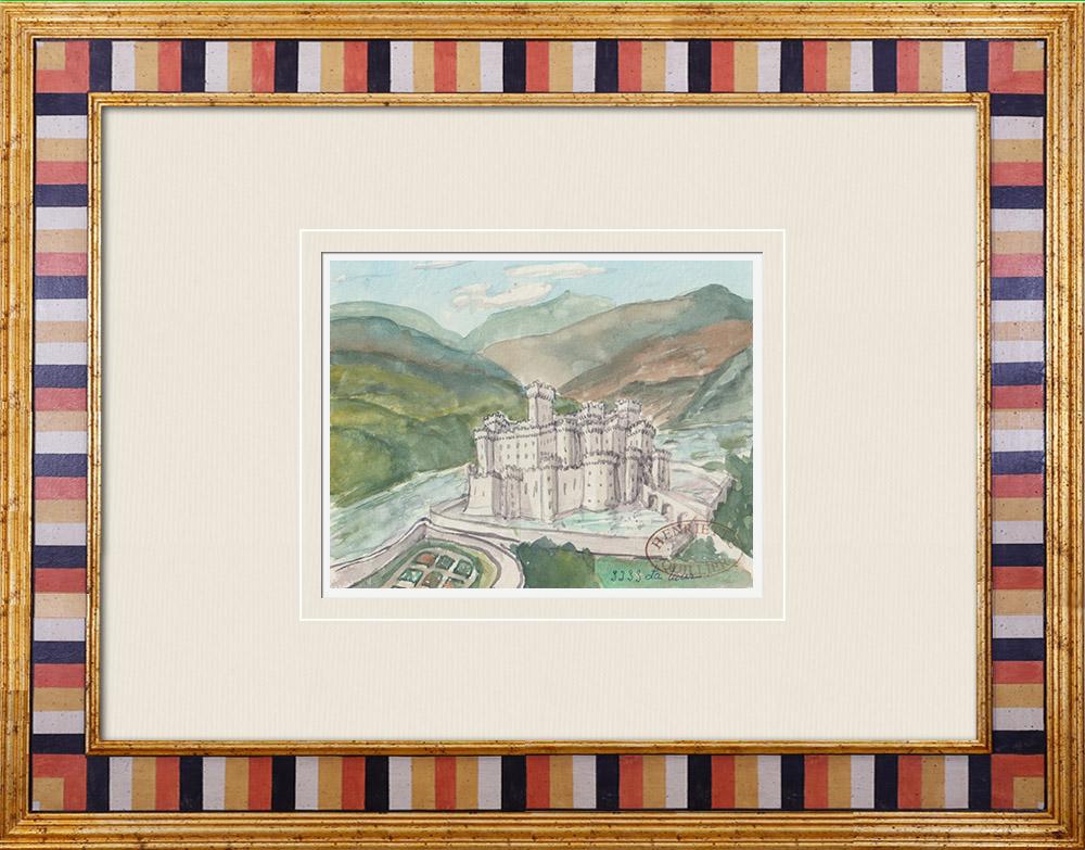 Gravures Anciennes & Dessins | Château imaginaire - Château de La Tour - Yonne - France (Henriette Quillier) | Aquarelle | 1960