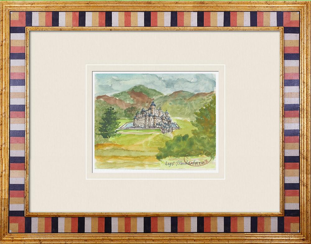 Antique Prints & Drawings | Imaginary Castle - Montauban-de-Bretagne - Ille-et-Vilaine - France (Henriette Quillier) | Watercolor painting | 1960