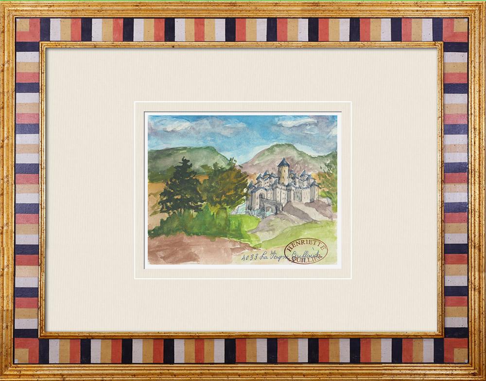 Antique Prints & Drawings | Imaginary Castle - La Vergne-Griffault - Vendée - France (Henriette Quillier) | Watercolor painting | 1960