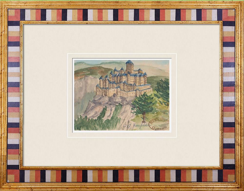 Gravures Anciennes & Dessins | Château imaginaire - Hamfelden - Styrie - Autriche (Henriette Quillier) | Aquarelle | 1960