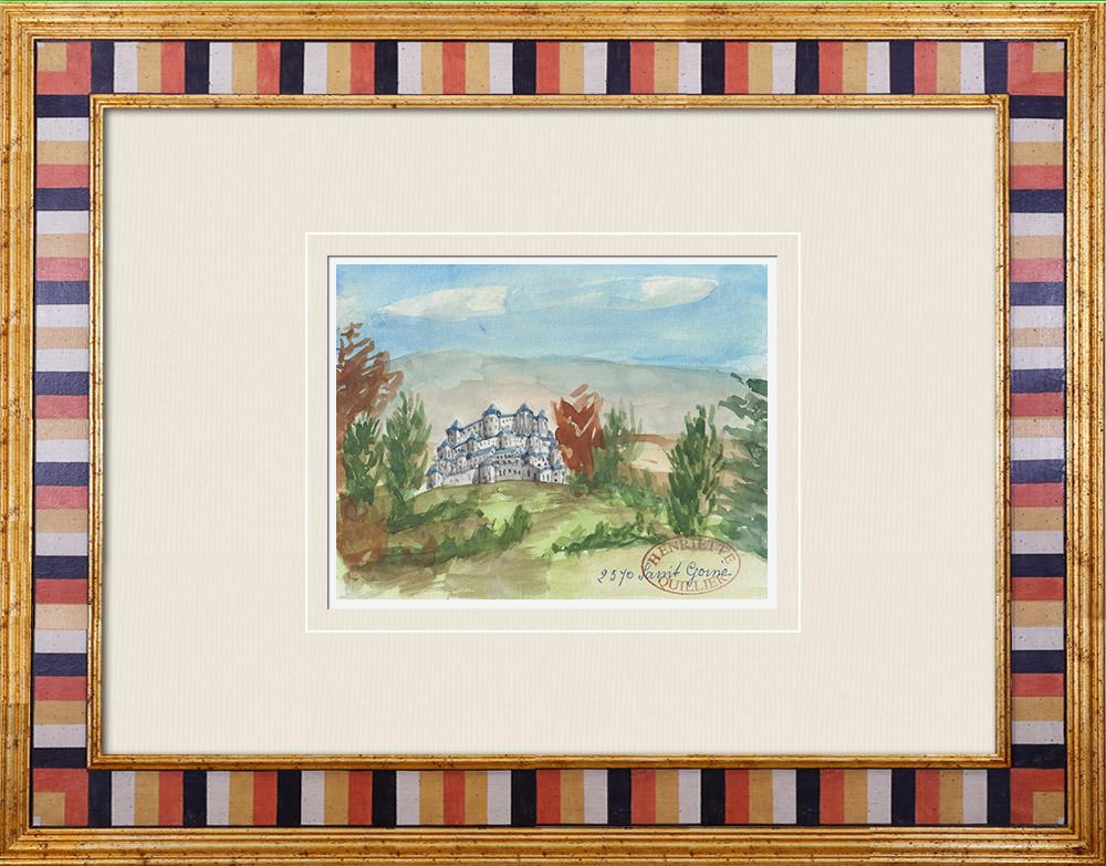 Antique Prints & Drawings | Imaginary Castle - Saint-Germé - Gers - France (Henriette Quillier) | Watercolor painting | 1960
