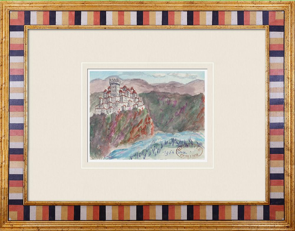 Antique Prints & Drawings | Imaginary Castle - Croix - Vaucluse - France (Henriette Quillier) | Watercolor painting | 1960