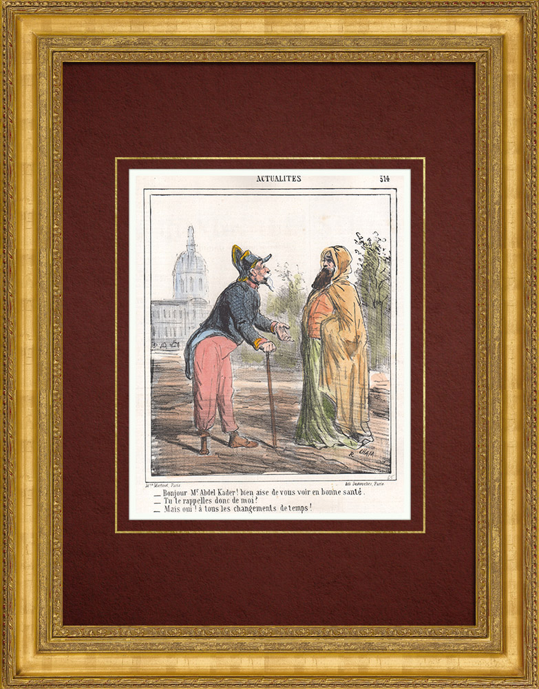 Antique Prints & Drawings | Caricature - French Invasion of Algeria - Emir Abdelkader - So you remember me ? | Lithography | 1865