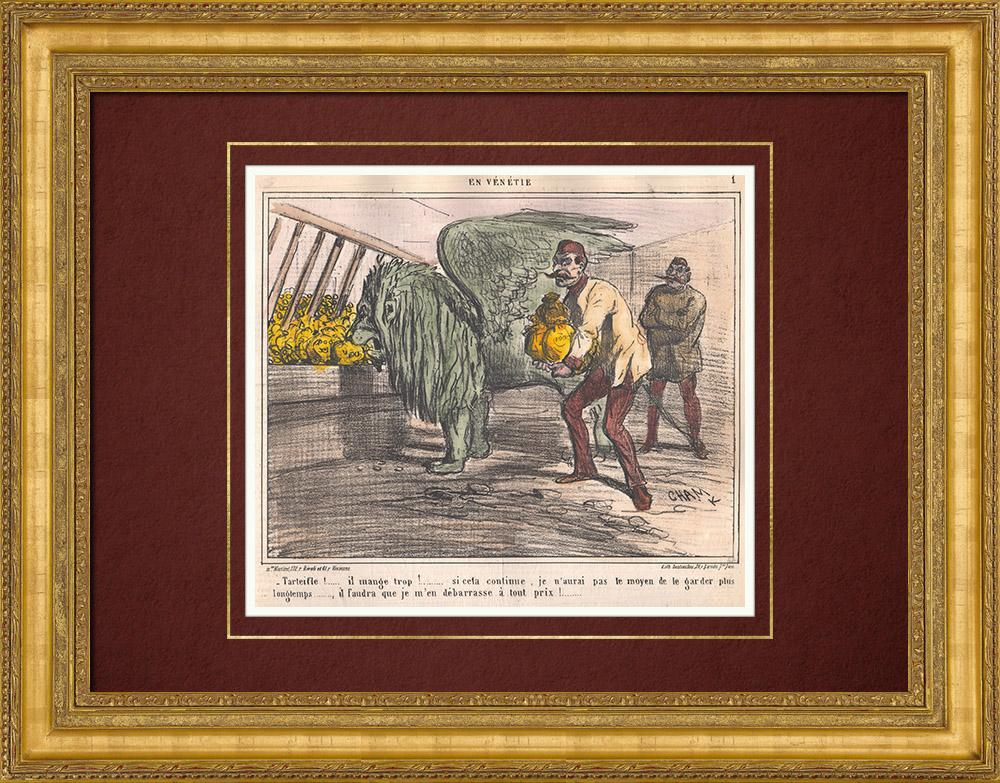 Gravures Anciennes & Dessins | Caricature de la Guerre d'Indépendance Italienne - 1862 - Lion de Saint Marc - Vénétie - Autriche - Venise  - Il mange trop ! | Lithographie | 1862