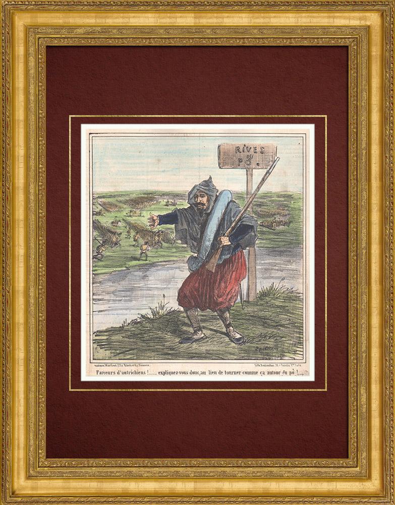 Gravures Anciennes & Dessins   Caricature de la Guerre d'Indépendance Italienne - 1859 - Rives du Pô  - Farceurs d'autrichiens !   Lithographie   1859