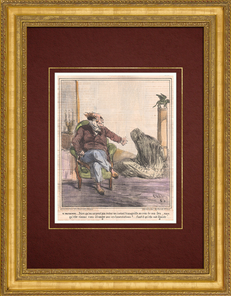 Antique Prints & Drawings | Caricature of the Italian War of Independence - 1859 - Lion of Saint Mark - Venice - She disturbs us with her lamentations! | Lithography | 1859