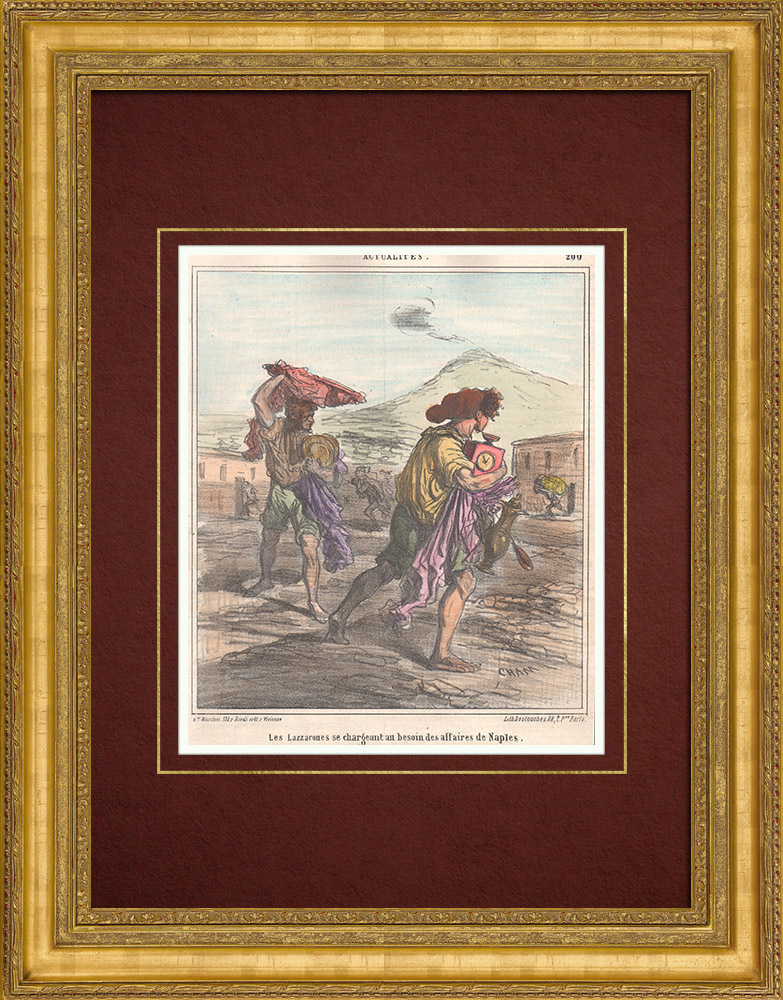 Antique Prints & Drawings   Caricature of the Italian War of Independence - 1859 - The Lazzaroni plunder Naples   Lithography   1859