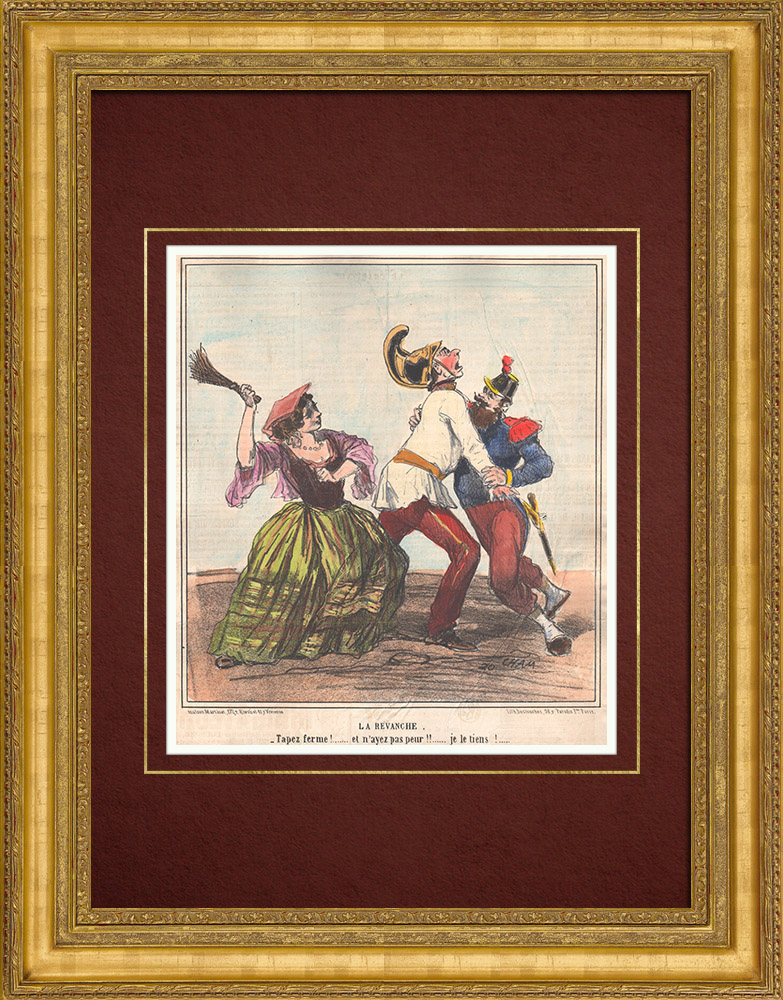 Antique Prints & Drawings | Caricature of the Italian War of Independence - 1859 - Tap firmly! and do not be afraid !! I hold him ! | Lithography | 1859
