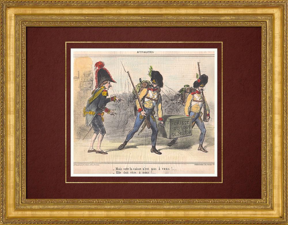 Gravures Anciennes & Dessins | Caricature de la Guerre d'Indépendance Italienne - 1859 - Caisse du Duc de Modène | Lithographie | 1859