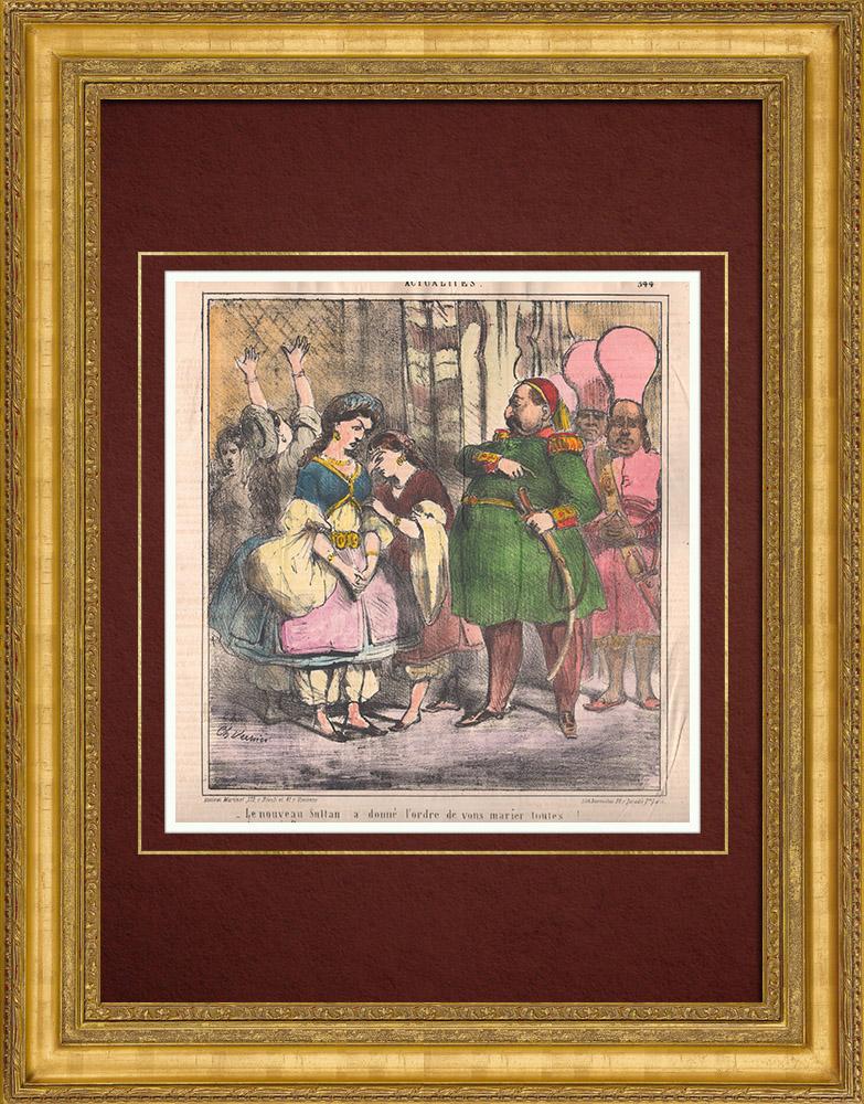 Gravures Anciennes & Dessins   Caricature - Turquie - 1861 - Le nouveau sultan a donné l'ordre de vous marier toutes !   Lithographie   1861