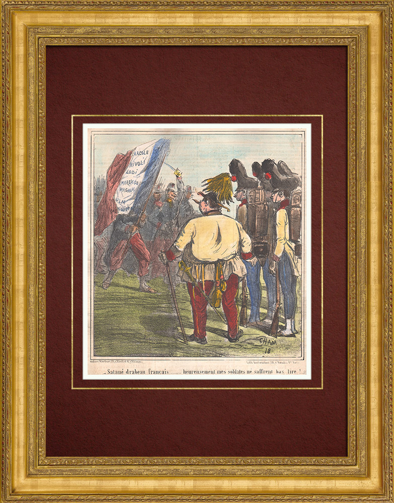 Antique Prints & Drawings | Caricature of the Italian War of Independence - 1859 - Damned French Flag! | Lithography | 1859