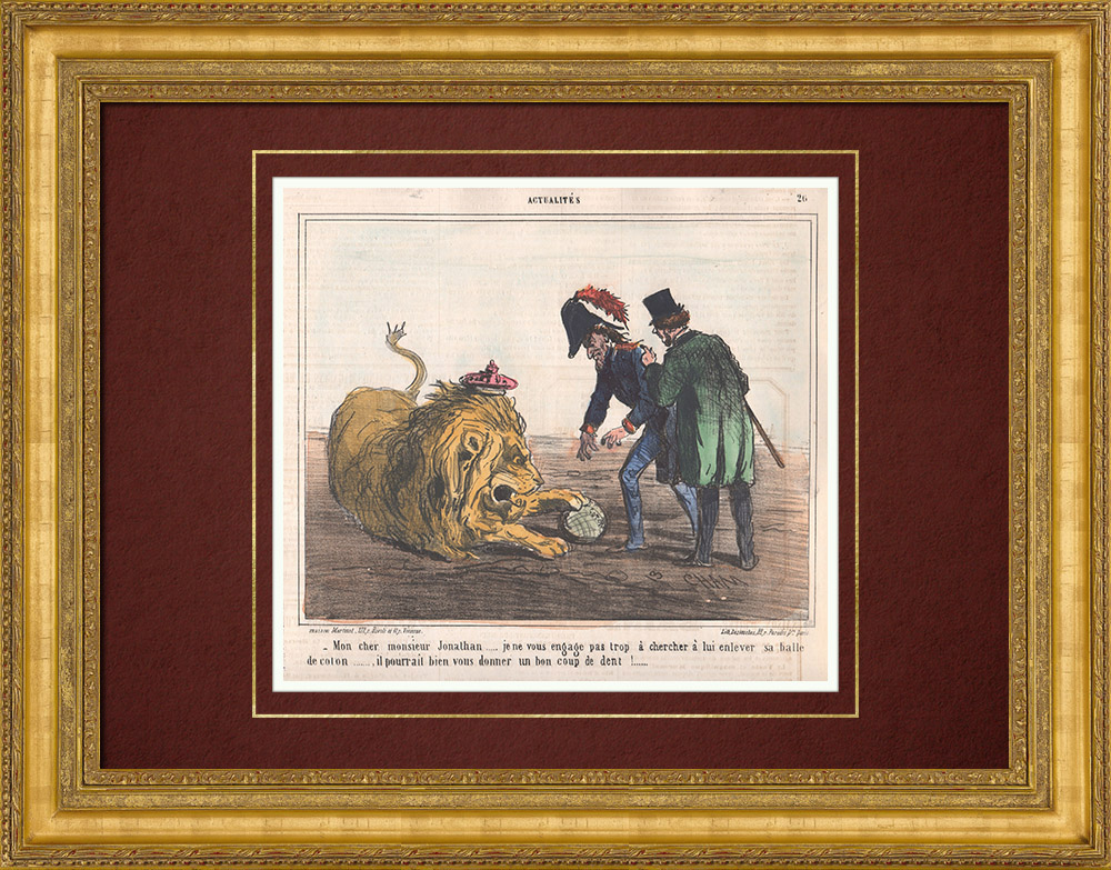 Antique Prints & Drawings   Caricature - Great Britain - 1862 - American Civil War - Shortage of cotton   Lithography   1862