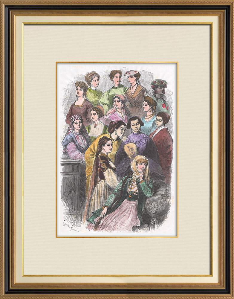 Antique Prints & Drawings | Traditional Costume - Nice - Bavaria - Sweden - Réunion - England - Russia - Tunisia - China - Greece - Algeria - Frisia | Wood engraving | 1867