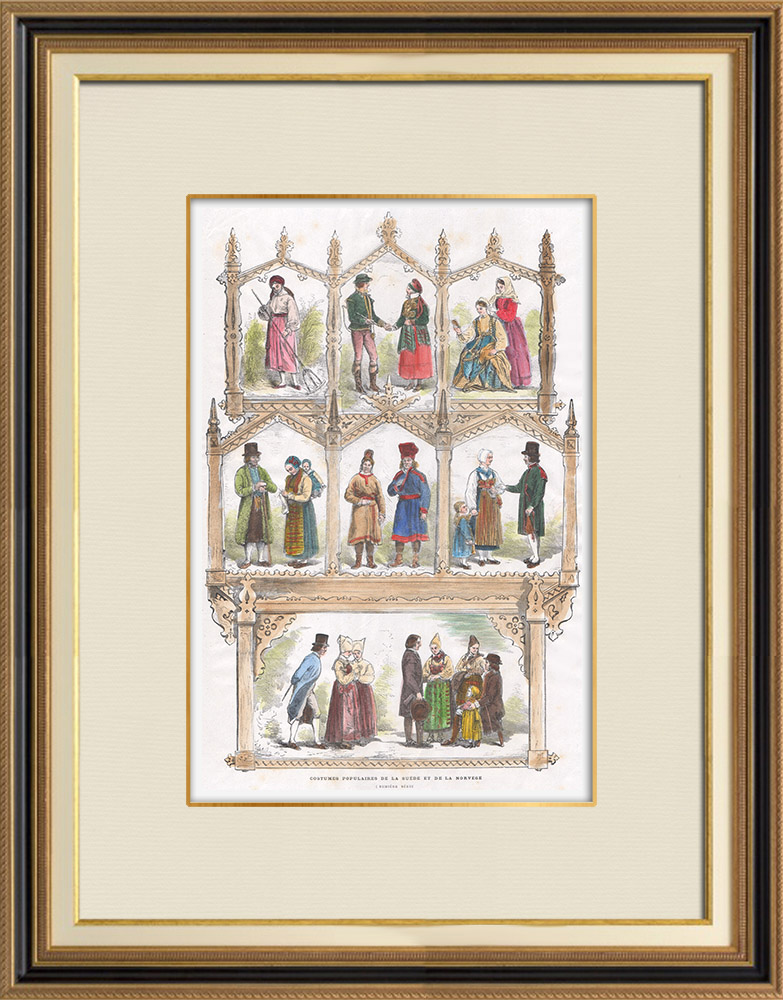 Antique Prints & Drawings   Paris Universal Exhibition of 1867 - Traditional Costume - Sweden - Norway   Wood engraving   1867