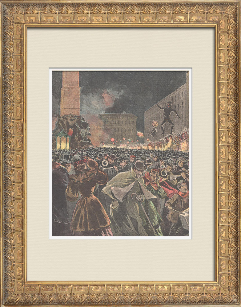 Antique Prints & Drawings | Traditional Epiphany evening in Rome (Italy) | Wood engraving | 1895