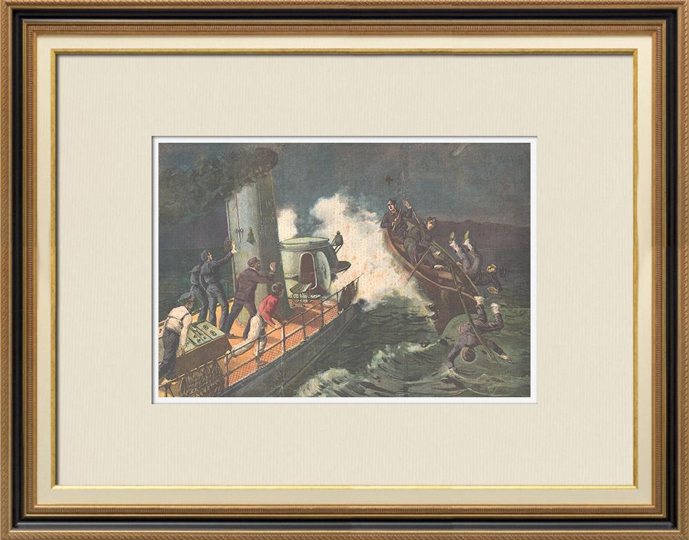 Gravures Anciennes & Dessins   Combat en mer - Torpilleur - Messine - Sicile - Italie - 1895   Gravure sur bois   1895
