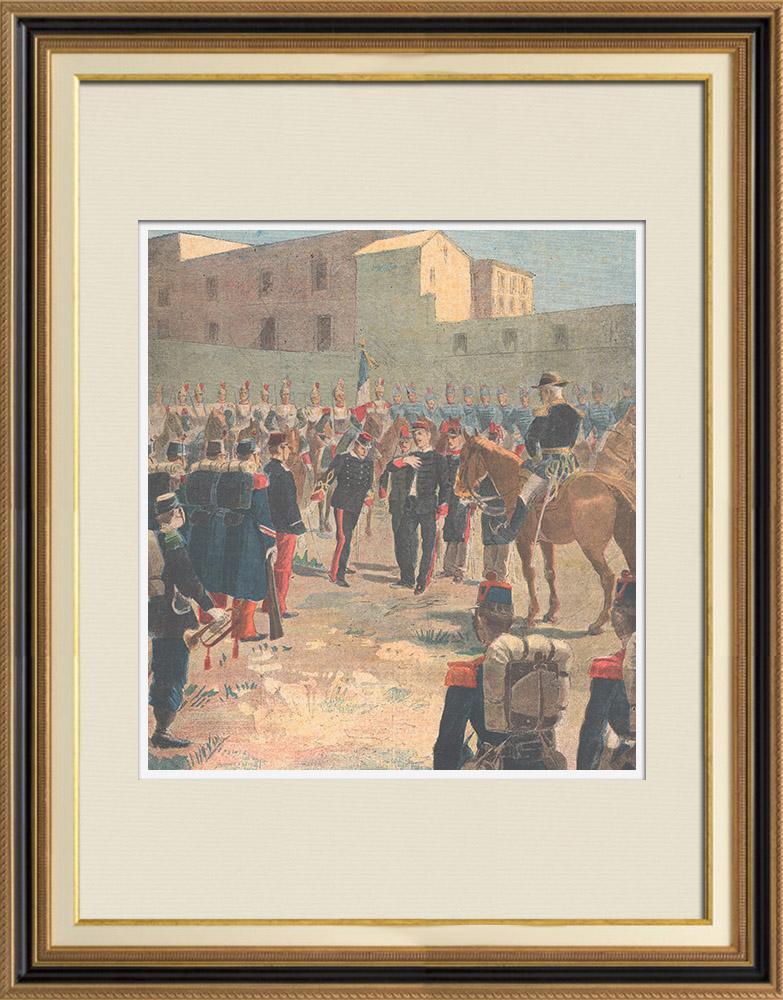 Gravures Anciennes & Dessins | Affaire Dreyfus - Dégradation du capitaine Dreyfus - Troisième République - 1895 | Gravure sur bois | 1895