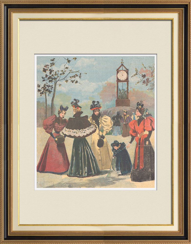 Antique Prints & Drawings | Costumes of women - Winter fashions - 1895 | Wood engraving | 1895