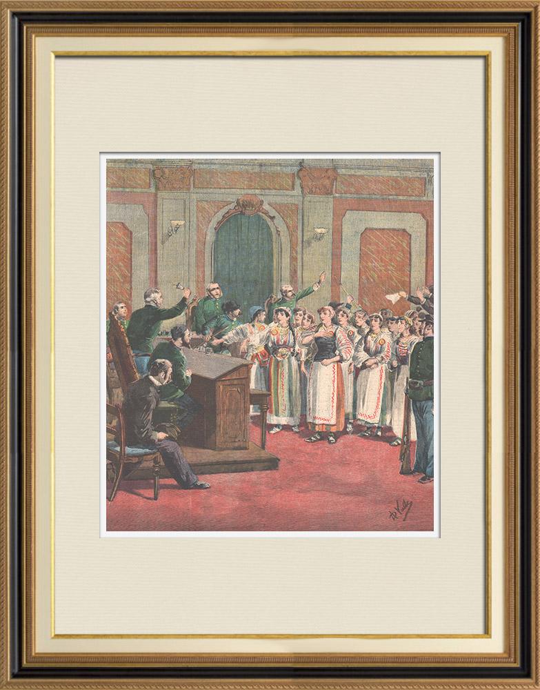 Antique Prints & Drawings | Fourteen romanian girls in tribunal - 1895 | Wood engraving | 1895