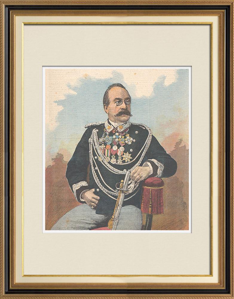 Antique Prints & Drawings | Portrait of Oreste Baratieri (1841-1901) | Wood engraving | 1895