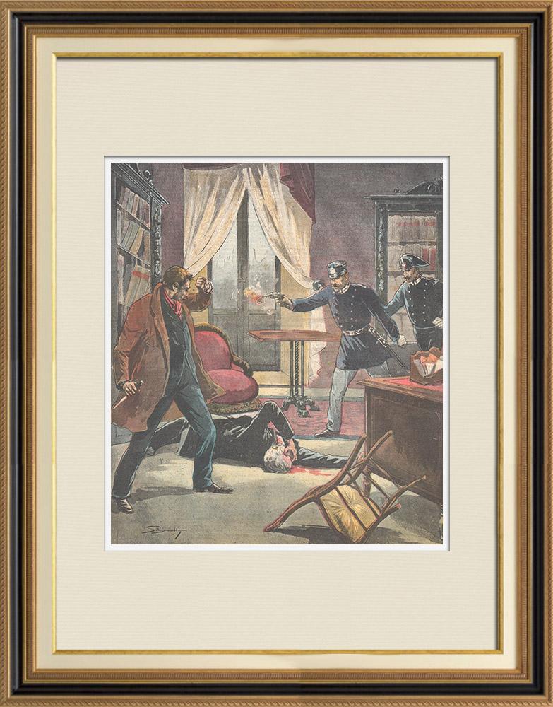 Gravures Anciennes & Dessins | Assassinat du procureur général Celli à Milan - 1895 | Gravure sur bois | 1895