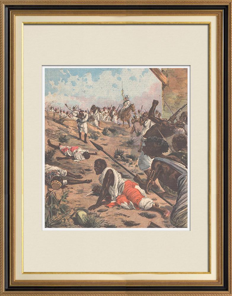Gravures Anciennes & Dessins   Dernières batailles africaines - Mort de Bath-Agos - 1895   Gravure sur bois   1895