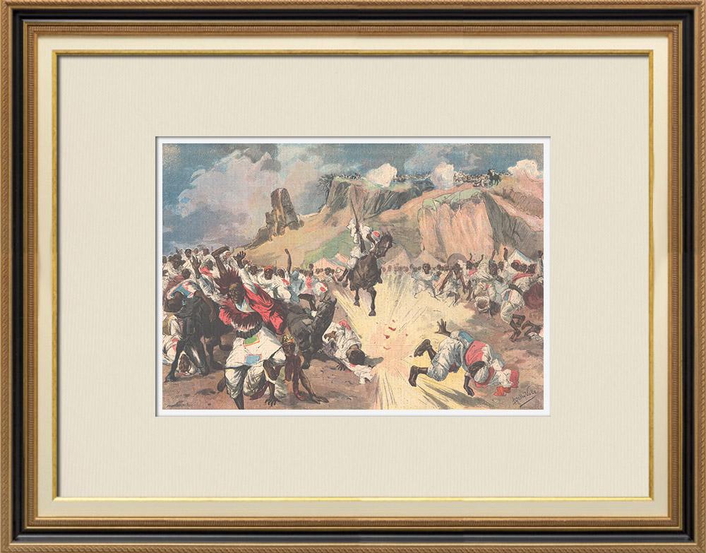 Antique Prints & Drawings   Italo-Ethiopian War - Battle of Senafé  - General Baratieri winner - 1895   Wood engraving   1895