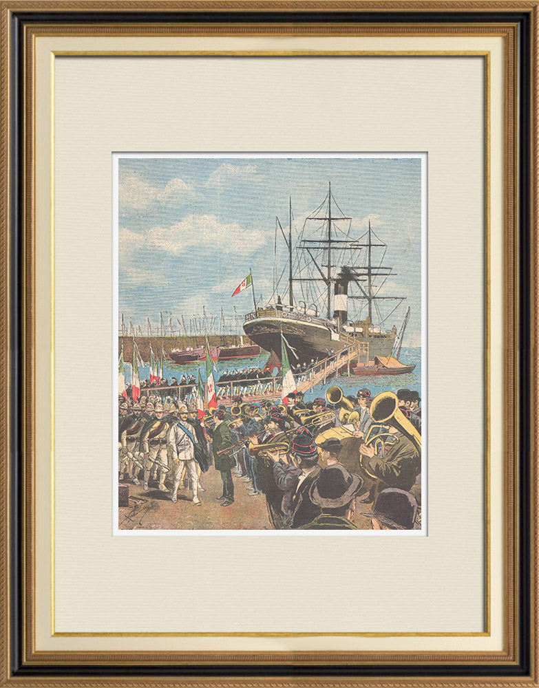 Antique Prints & Drawings   Italo-Ethiopian War - Boarding of the soldiers in Naples - 1895   Wood engraving   1895